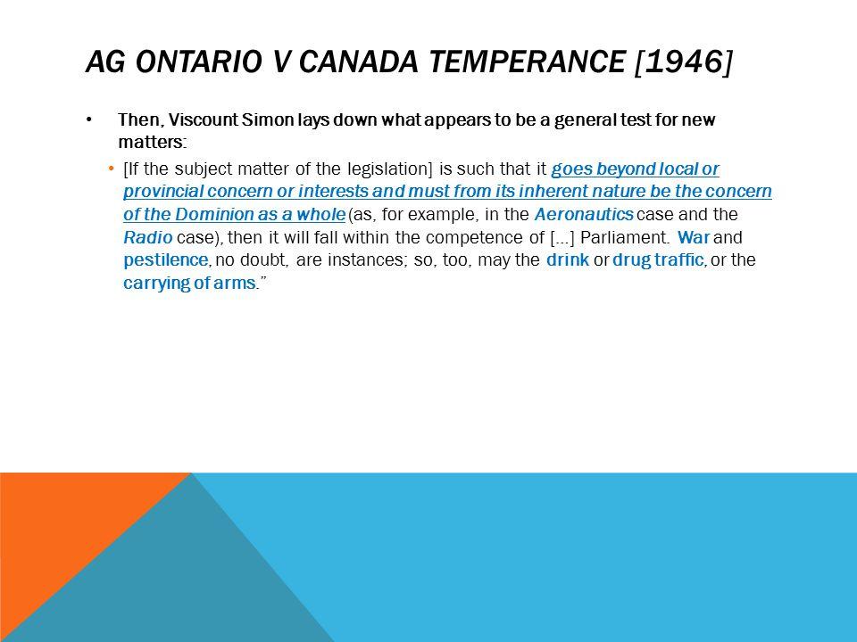 AG Ontario v Canada temperance [1946]